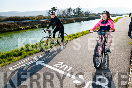 Sarah and Aimee Turner, Tralee practicing social distance on their bikes at the canal walk on Friday.