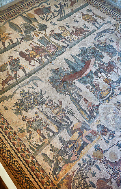 Roman mosaic floor of the Room of The Small Hunt, no 25 - Roman mosaics at the Villa Romana del Casale ,  circa the first quarter of the 4th century AD. Sicily, Italy. A UNESCO World Heritage Site.