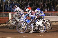 Heat 12: Kauko Nieminen (red), Cameron Woodward (blue) and Jason Crump (white) - Lee Richardson Memorial Speedway Meeting at Arena Essex Raceway, Purfleet - 28/09/12 - MANDATORY CREDIT: Gavin Ellis/TGSPHOTO - Self billing applies where appropriate - 0845 094 6026 - contact@tgsphoto.co.uk - NO UNPAID USE.