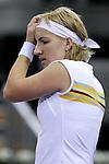 Russia's Svetlana Kuznetsova reacts during her WTA Masters Championships tennis match in Madrid, November 08, 2007. (ALTERPHOTOS/Alvaro Hernandez).