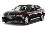 2016 Skoda Superb Ambition 5 Door Hatchback Angular Front stock photos of front three quarter view