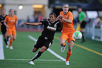 FC Gold Pride's Marta (10) battles Sky Blue FC's Keeley Dowling (17) for position.  FC Gold Pride defeated Sky Blue FC 3-1 at Castro Valley HS Athletic Stadium in Castro Valley, California on April 17, 2010.