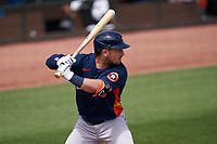 Houston Astros Alex Bregman (2) bats during a Major League Spring Training game against the Miami Marlins on March 21, 2021 at Roger Dean Stadium in Jupiter, Florida.  (Mike Janes/Four Seam Images)