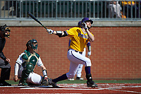 Alec Burleson (19) of the East Carolina Pirates follows through on a solo home run in the top of the first inning against the Charlotte 49ers at Hayes Stadium on March 8, 2020 in Charlotte, North Carolina. The Pirates defeated the 49ers 4-1. (Brian Westerholt/Four Seam Images)