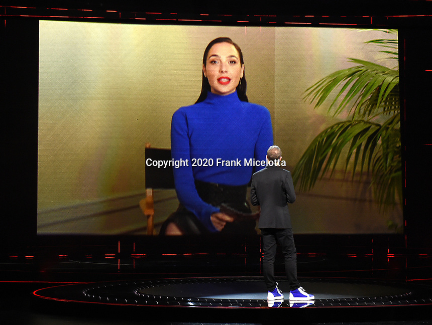 """HOLLYWOOD, CA - DECEMBER 10: Gal Gadot presents the Games for Impact award on """"The Game Awards 2020"""" in Hollywood, California on December 10, 2020. (Photo by Frank Micelotta/PictureGroup)"""