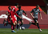 24th April 2021; Anfield, Liverpool, Merseyside, England; English Premier League Football, Liverpool versus Newcastle United; Allan Saint-Maximin of Newcastle United breaks forward to set up a Newcastle attack