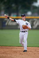 New York Yankees second baseman Nick Solak (2) warmup throw to first base during an Instructional League game against the Pittsburgh Pirates on September 29, 2017 at the Yankees Minor League Complex in Tampa, Florida.  (Mike Janes/Four Seam Images)