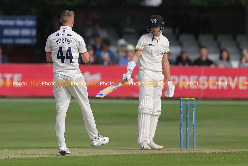 Jamie Porter of Essex claims the wicket of Ben Charlesworth during Essex CCC vs Gloucestershire CCC, LV Insurance County Championship Division 2 Cricket at The Cloudfm County Ground on 5th September 2021