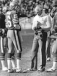Bill Walsh with Joe Montana on the sidelines 1984 at Candlestick Park, San Francisco, CA.