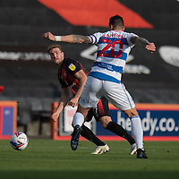 Bournemouth's Jack Stacey (left) vies for possession with Queens Park Rangers' Geoff Cameron (right) <br /> <br /> Photographer David Horton/CameraSport<br /> <br /> The EFL Sky Bet Championship - Bournemouth v Queens Park Rangers - Saturday 17th October 2020 - Vitality Stadium - Bournemouth<br /> <br /> World Copyright © 2020 CameraSport. All rights reserved. 43 Linden Ave. Countesthorpe. Leicester. England. LE8 5PG - Tel: +44 (0) 116 277 4147 - admin@camerasport.com - www.camerasport.com