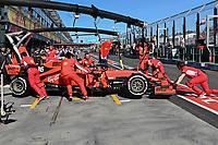 March 15, 2019: Mechanics work on the car of Sebastian Vettel (DEU) #5 from the Scuderia Ferrari team during practice session two at the 2019 Australian Formula One Grand Prix at Albert Park, Melbourne, Australia. Photo Sydney Low