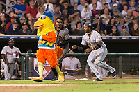 AFL East outfielder Monte Harrison (4) and pitcher Jon Duplantier (31) attack the San Diego Chicken between innings of the Fall Stars game at Surprise Stadium on November 3, 2018 in Surprise, Arizona. The AFL West defeated the AFL East 7-6 . (Zachary Lucy/Four Seam Images)