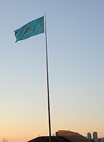 A massive Kazakh flag flies over Astana, the capitol of Kazakstan.<br />