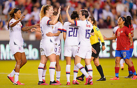 HOUSTON, TX - FEBRUARY 03: Samantha Mewis #3 of the United States celebrates her goal with Megan Rapinoe #15 during a game between Costa Rica and USWNT at BBVA Stadium on February 03, 2020 in Houston, Texas.