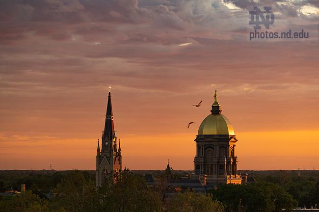 June 1, 2020; Sunset behind campus skyline (Photo by Matt Cashore/University of Notre Dame)
