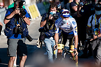 Julian Alaphilippe (FRA/Deceuninck-QuickStep) leaves the podium area after it became clear he was fined a 20 second penalty because of a late feed (with 17km to go) and therefore lost his yellow jersey to Adam Yates...<br /> <br /> Stage 5 from Gap to Privas (183km)<br /> <br /> 107th Tour de France 2020 (2.UWT)<br /> (the 'postponed edition' held in september)<br /> <br /> ©kramon