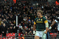 Ruan Janse van Rensburg of South Africa shows how much it means after scoring a try in the corner during the Killik Cup match between Barbarians and South Africa at Wembley Stadium on Saturday 5th November 2016 (Photo by Rob Munro)