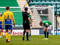 1st May 2021; Easter Road, Edinburgh, Scotland; Scottish Premiership Football, Hibernian versus St Johnstone;  Jackson Irvine of Hibernian reacts to his yellow card shown by Referee Greg Aitken