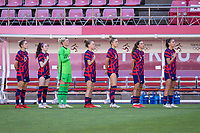 KASHIMA, JAPAN - AUGUST 5: The USWNT stands for the national anthem before a game between Australia and USWNT at Kashima Soccer Stadium on August 5, 2021 in Kashima, Japan.