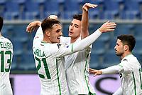Filip Djuricic of Sassuolo celebrates with Pol Lirola of Sassuolo after scoring goal of 0-1 <br /> Genova 03-02-2019 Stadio Marassi, Football Serie A 2018/2019 Genoa - Sassuolo   <br /> Foto Image Sport / Insidefoto