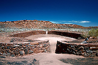 The exterior of a Sinagua Indian ball court. Wupatki National Monument, Arizona.