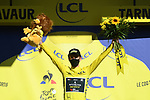 Adam Yates (GBR) Mitchelton-Scott retains the Yellow Jersey at the end of Stage 7 of Tour de France 2020, running 168km from Millau to Lavaur, France. 4th September 2020.<br /> Picture: ASO/Alex Broadway | Cyclefile<br /> All photos usage must carry mandatory copyright credit (© Cyclefile | ASO/Alex Broadway)