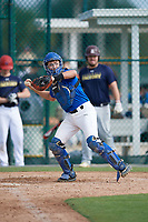 Max Caron (18), from Lewis Center, Ohio, while playing for the Dodgers during the Baseball Factory Pirate City Christmas Camp & Tournament on December 29, 2017 at Pirate City in Bradenton, Florida.  (Mike Janes/Four Seam Images)