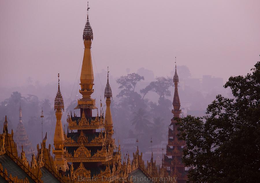 view from the Shwedagon pagoda at sunrise, Yangon, Myanmar