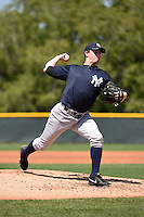 Pitcher Sam Agnew-Weiland (47) of the New York Yankees organization during a minor league spring training game against the Pittsburgh Pirates on March 22, 2014 at Pirate City in Bradenton, Florida.  (Mike Janes/Four Seam Images)