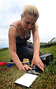 THE ISLES OF SCILLY SEABIRD RECOVERY PROJECT. JACLYN PEARSON, RSPB, STUDYING SCILLY SHREW POPULATIONS BY PUTTING OUT INK TRAPS.  17/06/2015. PHOTOGRAPHER CLARE KENDALL.