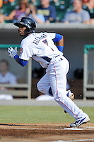 Tennessee Smokies second baseman Arismendy Alcantara #7 runs to first during a game against the Mobile BayBears at Smokies Park on August 25, 2013 in Kodak, Tennessee. The BayBears won the game 2-0. (Tony Farlow/Four Seam Images)