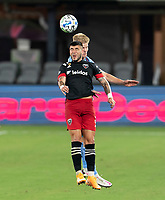 WASHINGTON, DC - SEPTEMBER 06: Ulises Segura #8 of D.C. United goes up for a header with Keaton Parks #55 of New York City FC during a game between New York City FC and D.C. United at Audi Field on September 06, 2020 in Washington, DC.