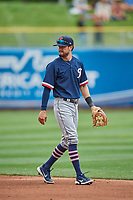 Jack Reinheimer (7) of the Tacoma Rainiers on defense against the Salt Lake Bees at Smith's Ballpark on May 16, 2021 in Salt Lake City, Utah. The Bees defeated the Rainiers 8-7. (Stephen Smith/Four Seam Images)