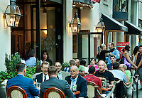 Diners enjoy sidewalk seating at a Philadelphia resaurant, Pennsylvania