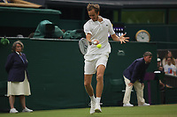 6th July 2021, Wimbledon, SW London, England; 2021 Wimbledon Championships, day 8;  Daniil Medvedev of Russia hits a return during the mens singles fourth round match with Hubert Hurkacz of Poland