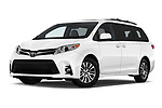 Stock pictures of low aggressive front three quarter view of a 2020 Toyota Sienna XLE 5 Door Mini Van