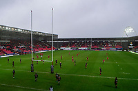 Dan Jones of Scarlets kicks a penalty during the Guinness Pro14 Round 11 match between the Scarlets and Edinburgh Rugby at the Parc Y Scarlets in Llanelli, Wales, UK. Saturday 15 February 2020