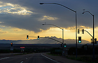 Aug. 14, 2012, Fountain Hills, AZ; Sunrise desert Arizona mountain clouds Four Peaks stop light traffic light pole Mandatory Credit: Mark J. Rebilas