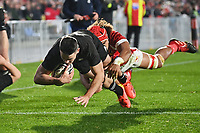 3rd July 2021, Auckland, New Zealand;  Will Jordan crosses to score a try.<br /> New Zealand All Blacks versus Tonga, Steinlager Series, international rugby union test match. Mt Smart Stadium, Auckland. New Zealand.