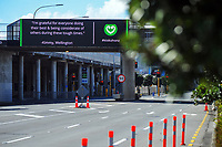 Waterloo Quay, Wellington CBD, at 1.30pm during Level 4 lockdown for the COVID-19 pandemic in Wellington, New Zealand on Wednesday, 25 August 2021.