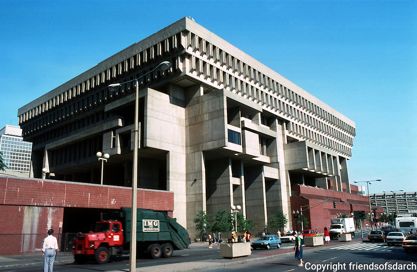 Boston:  City Hall, 1969.  Congress St., eastern elevation.  Kallman, McKinnell & Knowles.  Brutalist style.  Part of major urban redesign in '60's.  Photo '88.