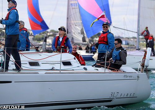 Jimmy Fitzpatrick (third from right) sailing on Mick Blaney's (standing) 31.7 in the 2019 Volvo Dun Laoghaire Regatta Photo: Afloat