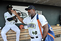 Tony Dibrell (8) of the Columbia Fireflies gets a high five from pitching coach Jonathan Hurst (48) before a game against the Charleston RiverDogs in which he set a Fireflies single-season strikeout record of 138 on Tuesday, August 28, 2018, at Spirit Communications Park in Columbia, South Carolina. Columbia won, 11-2. (Tom Priddy/Four Seam Images)