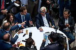 JUNE 3, 2015: American Pharoah owners Ahmed Zayat and Justin Zayat, trainer Bob Baffert and jockey Victor Espinoza react after American Pharoah drew the five post during the Belmont Stakes Post Position Draw at Rockefeller Center in New York, NY. Scott Serio/ESW/CSM