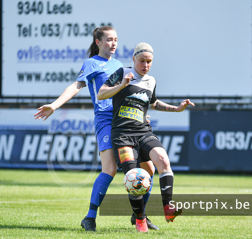 defender Sterre Gielen (14) of KRC Genk pictured defending on Stephanie Van Gils (27) of Eendracht Aalst  during a female soccer game between Eendracht Aalst and Racing Genk on the 10 th and last matchday of play off 2 of the 2020 - 2021 season of Belgian Scooore Womens Super League , Saturday 29 st of May 2021  in Aalst , Belgium . PHOTO SPORTPIX.BE   SPP   DAVID CATRY
