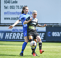 defender Sterre Gielen (14) of KRC Genk pictured defending on Stephanie Van Gils (27) of Eendracht Aalst  during a female soccer game between Eendracht Aalst and Racing Genk on the 10 th and last matchday of play off 2 of the 2020 - 2021 season of Belgian Scooore Womens Super League , Saturday 29 st of May 2021  in Aalst , Belgium . PHOTO SPORTPIX.BE | SPP | DAVID CATRY