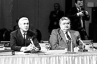 Montreal (QC) Canada- - DEc  1986 File Photo- CRTC Hearing- - Claude Chagnon, Videotron (L), Roland Giguere, Tele-Metropole (R)