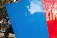 "Switzerland. Canton Ticino. Bellinzona. Political meeting of the Green Party "" I Verdi del Ticino"" on Piazza del Governo. Ticino flag. The Green Party of Switzerland also called: German: Grüne Partei der Schweiz; French: Les verts – Parti écologiste suisse; Italian: I Verdi – Partito ecologista svizzero; Romansh: La Verda – Partida ecologica svizra; ""The Greens – Swiss ecological party"". 28.03.2015 © 2015 Didier Ruef"