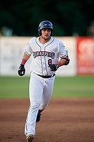Mahoning Valley Scrappers Henry Pujols (8) rounds the bases after hitting a home run during a NY-Penn League game against the Hudson Valley Renegades on July 15, 2019 at Eastwood Field in Niles, Ohio.  Mahoning Valley defeated Hudson Valley 6-5.  (Mike Janes/Four Seam Images)