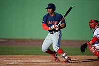 Salem Red Sox right fielder Kyri Washington (21) bats during the first game of a doubleheader against the Potomac Nationals on May 13, 2017 at G. Richard Pfitzner Stadium in Woodbridge, Virginia.  Potomac defeated Salem 6-0.  (Mike Janes/Four Seam Images)